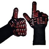 TTLIFE BBQ, 1 paio di guanti da barbecue resistenti al calore estremo fino a 500°C, black, Lungo (Terrazze e Giardini)