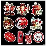BLOUR Pegatinas de Coca-Cola, Pegatinas de Maleta de Equipaje, Caja de Carrito, Pegatinas Personalizadas de Marca de Marea a Prueba de Agua, 50 Uds.