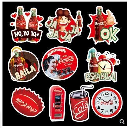 BLOUR Adesivi Coca-Cola Adesivi per valigie per Bagagli Adesivi per Trolley Custodia per Computer Adesivi Marea Impermeabili Personalizzati 50Pz