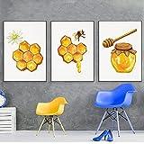 Yllang Abejas Antiguas Pinturas en Lienzo Cartel de impresión Natural Insectos Vintage Miel de Abeja Arte de la Pared Diagrama de Abeja en Tonos Amarillos Decoración de la Pared 40x50cmx3 Sin Marco