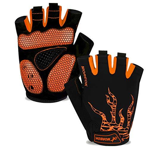 Fahrradhandschuhe Herren Damen Halbfinger Atmungsaktiv Radsporthandschuhe,5MM SBR Gel Stoßdämpfende Rutschfestes Radhandschuhe Mountainbike Handschuhe Outdoor MTB Handschuhe-Orange-XL