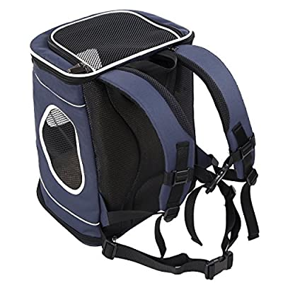 "Petsfit Pet Carrier Backpack for Dogs Puppies Cats Rabbits Up to 15 LBS, Soft-Sided Mesh Pup Pack for Outdoor Travelling, Removable Fleece Mat, with Built-in Collar Buckle, 17"" H x13 L x11 W Inches"