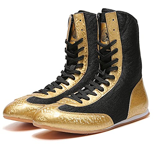 WJFGGXHK High Top Kickboxing-Schuhe, Unisex Boxing-Schuh Leichte Wrestling-Stiefel rutschfeste Wrestling-Stiefel Für Erwachsene Junior Jugend,Gold,33 EU