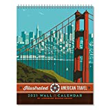 Americanflat 2021 Wall Calendar - American Travel Hanging Monthly Planner by Joel Anderson - 10x26 Inch Opened