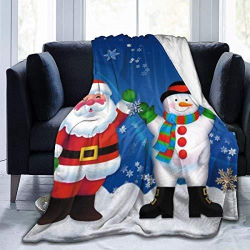 AEMAPE Navidad Papá Noel Muñeco de Nieve Impreso Manta Ligero Súper Suave Micro Fleece Mantas de Tiro Apto Sofá Cama Sala de Estar Sofá Silla 50x40in