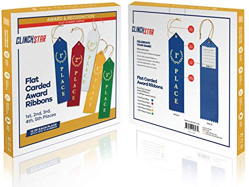 Award Ribbons Place 1st 2nd 3rd 4th 5th Premium Flat Carded Set - Blue Red White Yellow Green & Event Card 12 Each (60 Pack) - by Clinch Star Photo #8
