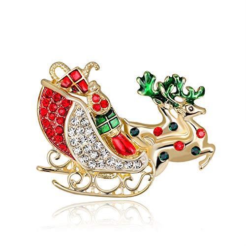 Fansi Brosche Weihnachtsmotiv Elch Schlitten Diamant Brosche