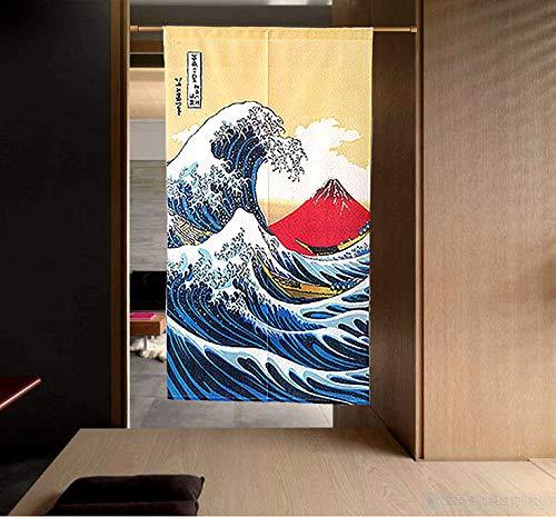 LIGICKY Japanische Gardinen Noren Lang Vorhang Türvorhang Schlafzimmer Tapisseri für die Heimtextilien Raumteiler 85 x 150 cm (Ukiyoe Hokusai The Great Wave Off Kanagawa Mt.Fuji