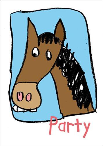Grappige uitnodiging voor verjaardags/feestje met paard • ook voor het direct verzenden met je persoonlijke tekst als inlegger. • Mooie wenskaart met envelop voor beste vrienden en lievelingsmensen.