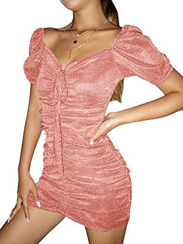 Auxo Damen Schulterfrei Kleid Ballkleid Cocktail Pailletten Partykleid Club Kurz Bodycon Minikleid 04-Pink L