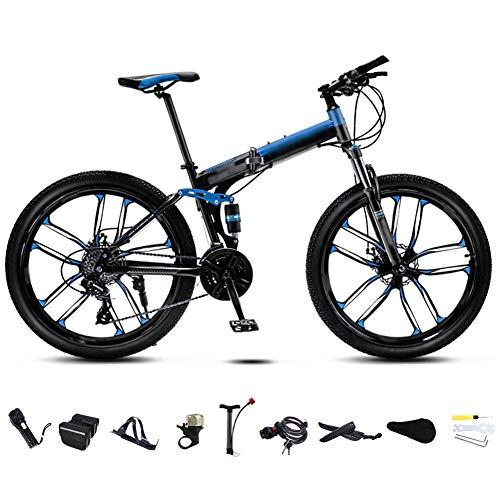 YRYBZ 24 Pulgadas 26 Pulgadas Bicicleta de Montaña Unisex, Bici MTB Adulto, Bicicleta MTB Plegable, 30 Velocidades Bicicleta Adulto con Doble Freno Disco/Blue/C Wheel / 26''
