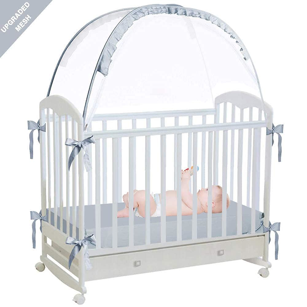 L RUNNZER Baby Pop Up Tent Cover Crib,See Through Crib and Nursery Soft Mesh Cover,Net with Viewing Window to Keep Baby in