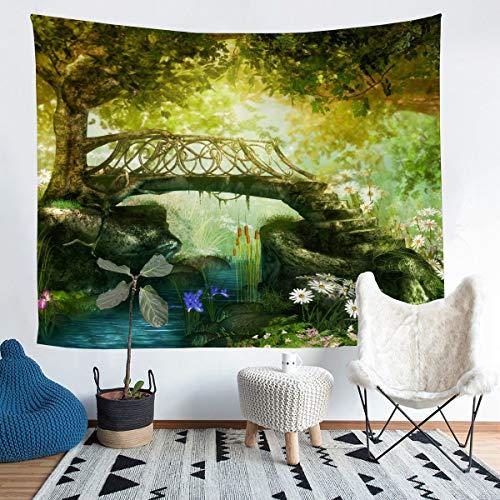 Tapiz para colgar en la pared con diseño de cuento de hadas, para niños, niñas, bosque de hadas, flores, paisaje natural, arte de pared para dormitorio, sala de estar, tamaño mediano 51 x 59 pulgadas