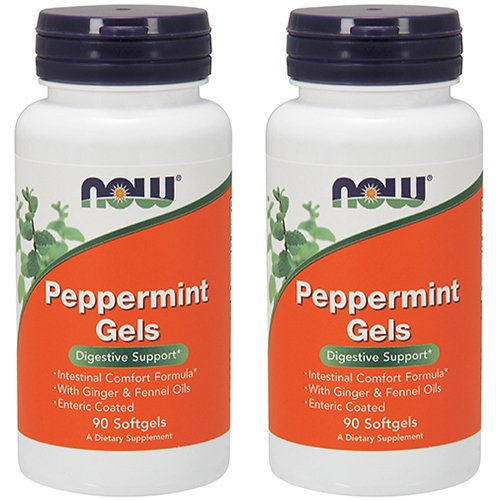 NOW Foods Peppermint Gels with Ginger & Fennel Oils, 90 Softgels (Pack of 2)