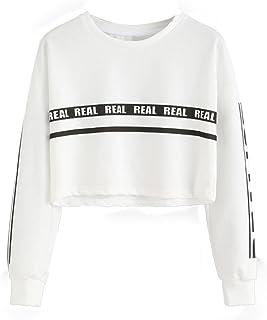 Aliciga レディース Tシャツ 長袖 無地 REAL 英文字柄 クロップトップ カットソ 春 夏 トップス スウェット ダンス衣装 おしゃれ かわいい 目立つ ストリート カジュアル 人気 海 ビーチウェア スポーツ ゆったり きれいめ