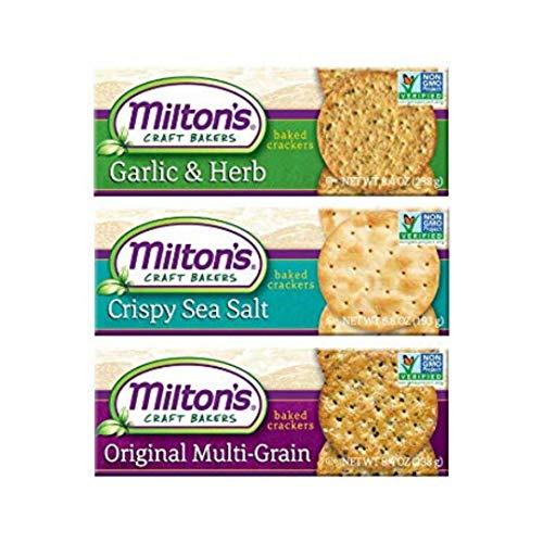 Milton's Gourmet Crackers. Multi-Grain, Garlic & Herb and Crispy Sea Salt Bundle Non-GMO Baked Crackers. 3 Flavor Variety Bundle, 8.4 Ounce. Packaging May Vary.