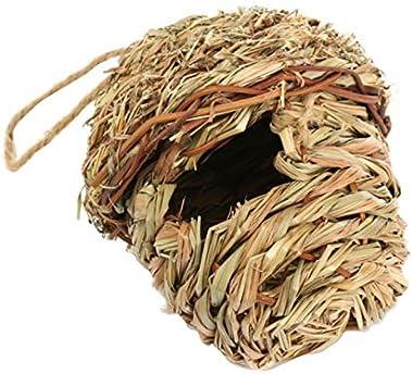 Bird House for Outside, Hummingbird House Hanging Bird Nest, Grass Bird HutFiber Hand-Woven Bird House Roosting Pocket, Bird Hideaway from Predators Provides shelter for Finch & Canary (2)