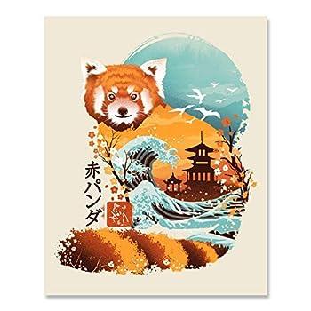 Japanese Red Panda Art Print - Traditional Ukiyo-e Wall Art 8 x 10 Unframed Cherry Blossom Ocean Waves Spiritual Home Decor Japanese Theme Artwork Whimsical Animal Print Calming Nautical Wall Hanging