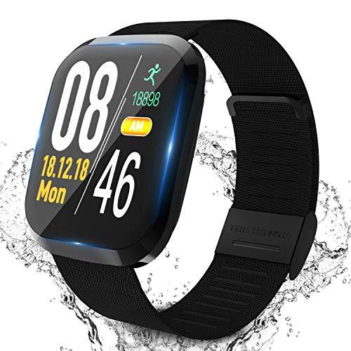 Smartwatch, Fitness Tracker Kinder Schrittzähler Uhr Damen Voller Touchscreen Wasserdichtes Bluetooth Sportuhr Smart Watch Herren Laufen Mit Pulsmesser Schlafmonitor Armbanduhr Uhr für IOS/Android(1
