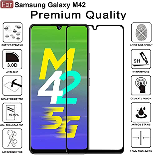 BEHAV Premium 11D Tempered Glass for SAMSUNG GALAXY M42 Screen Guard for SAMSUNG M42 Screen Protector Full HD Quality Edge to Edge Coverage (Black)
