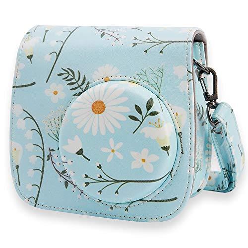 Annle Tasche für Fujifilm Instax Mini 8 / Mini 9 Sofortbildkamera aus Weichem Kunstleder mit Schulterriemen und Tasche (Blue Daisy A)