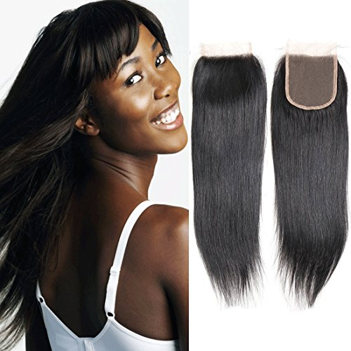 Human Hair Brazilian Closure Straight Lace Front Frontal 4x4 Top Free Part Virgin Remy Natural Hair Extension Grade 8a (10 Closure)
