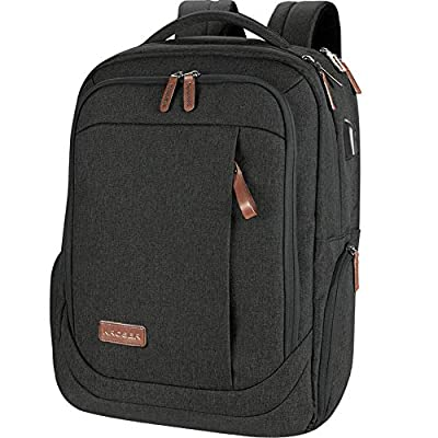 KROSER Laptop Backpack Large Computer Backpack Fits up to 17.3 Inch Laptop with USB Charging Port Water-Repellent School Travel Backpack Casual Daypack for Business/College/Women/Men-Charcoal Black from KROSER