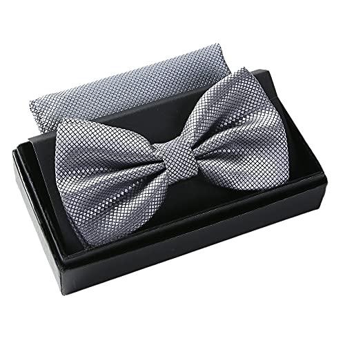 Massi Morino Fliege mit Einstecktuch für Herren I Verstellbare Premium Fliege I Hochwertiges Geschenk Set (Grau)