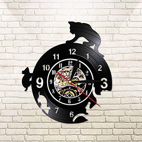 BFMBCHDJ Kreative lustige Haustier Katze und Maus Vinyl Schallplatte Wandleuchte Uhr Katze Jagd Maus Spiel Wandkunst Hunter Watch Tierhalter Geschenk mit LED 12 Zoll