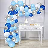 Blue Silver White Balloon Garland Kit, 120pcs Royal Blue and Silver Metallic Balloons Arch Kit with Strip Tape, Dot Glue for Wedding Birthday Graduation Party Supplies