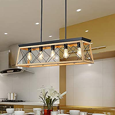 "Auffel Modern Island Lighting Pool Table Ligh 5 Lights Industrial Black Farmhouse Chandelier 37.4"" Metal Rectangle Ceiling Light for Foyer Bedroom"