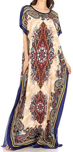 Sakkas 18212 - Vestito Caftano con Stampa Africana Dashiki da Donna Aggy Maxi Boho Hippie Colorato - Style5 - OS