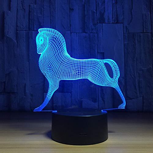 QAZEDC Veilleuse 3D Mignon coloré poney cheval jouets mon petit poney 3D illusion nuit lumière acrylique nuit lampe bébé enfants dormir lampe(Livraison gratuite)