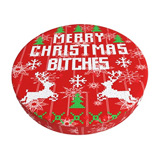 Merry Christmas Bar Stool Covers Round Soft Stool Cushion Covers Washable Elastic Slipcover Bar Chair Cover