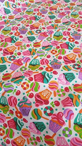 Cupcakes Lollipops Poly Cotton Fabric by The Yard Ideal for Birthday Parties School Parties product image
