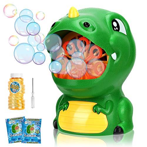 Gifort Machine à Bulles pour Enfants, Souffleur de Bulles Automatique, Fabricant de Bulles de Dessin Animé Mignon avec Solution de Savon, Jouet de Bain Bulle (Dinosaure)