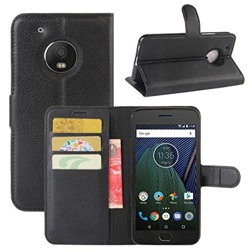 HualuBro Moto G5 Plus Hülle, Leder Lederhülle Brieftasche Etui Tasche Schutzhülle HandyHülle [Standfunktion] Leather Wallet Flip Hülle Cover für Motorola Moto G5 Plus (Schwarz)