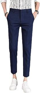 Mogogo Mens Business Tenths Pants Solid No-Iron Tapered Pockets Dress Pant