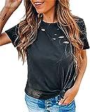 Tops Mujer Verano Cuello Redondo Color Sólido Agujero Mujer Camisa Casual Personalidad Clásica Transpirable Diseño Exquisito Elasticidad Estilo Callejero Único Mujer Blusa B-Black M
