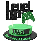 Level Up Cake Topper Black and Green Glittery Video Game Party Cake Decor Video Game Controller/Game Fans/Gamer/Gaming Themed Kids Boy Girl Happy Birthday Party Cake Supplies Decorations