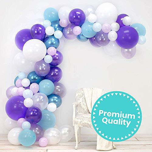 Junibel Balloon Arch & Garland Kit   Lavender, Pastel & Chrome Blue, Purple, White   Adhesive Dots & Decorating Strip   Holiday, Wedding, Baby Shower, Graduation, Anniversary & Party Decorations