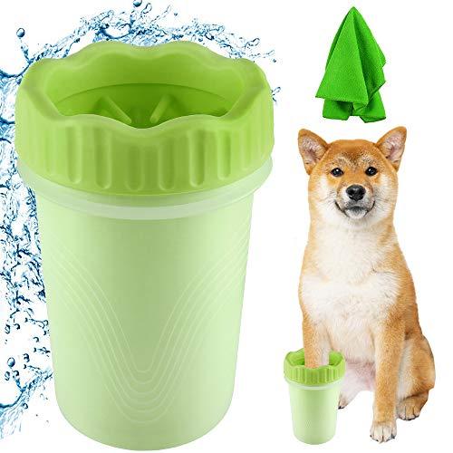 YQHbe Hunde Pfotenreiniger,Pfotenreiniger FüR Hunde Mit Handtuch Hund Hunde Pfote Reiniger Tragbarer Hunde Hygiene Tonne Pfoten Reinigen FüR GroßE Hunde,Haustier,Katzen (Grün 2)