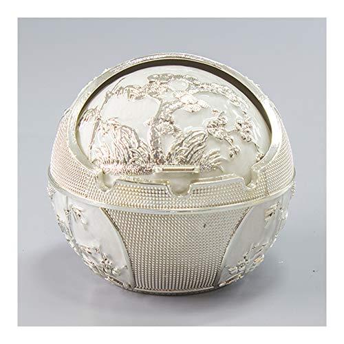 Papelera de metal con relieve de pino, cenicero fresco con tapa, centro de mesa decoración con material de aleación de zinc StyleName Size blanco