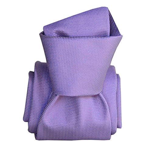 Segni et Disegni. Cravate classique. Luiji, Soie. Violet, Uni. Fabriqué en Italie.