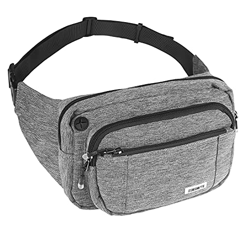 MINJANDLEE Large Crossbody Waist Pack Bag Fanny Pack for Men&Women, Waterproof 4 Zip Pockets Bum bag with Adjustable Belt for Outdoors Workout Traveling Running Hiking Casual Cycling(Grey)