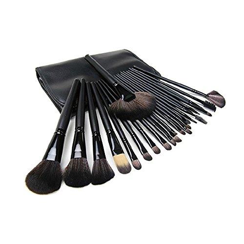 ZREAL 24pcs en bois de verfassungs Kit d'installation avec brosses cosmétique professionnelle de former Set + Sac pochette noir