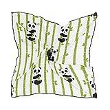 ALARGE Bufanda cuadrada de seda con patrón de bambú de Panda protector solar ligero y suave pañuelo bufandas abrigo chal silenciador para mujeres y niñas