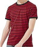 Ezsskj Men's Short Sleeve Striped T Shirt red and Black Striped tee Shirt Medium