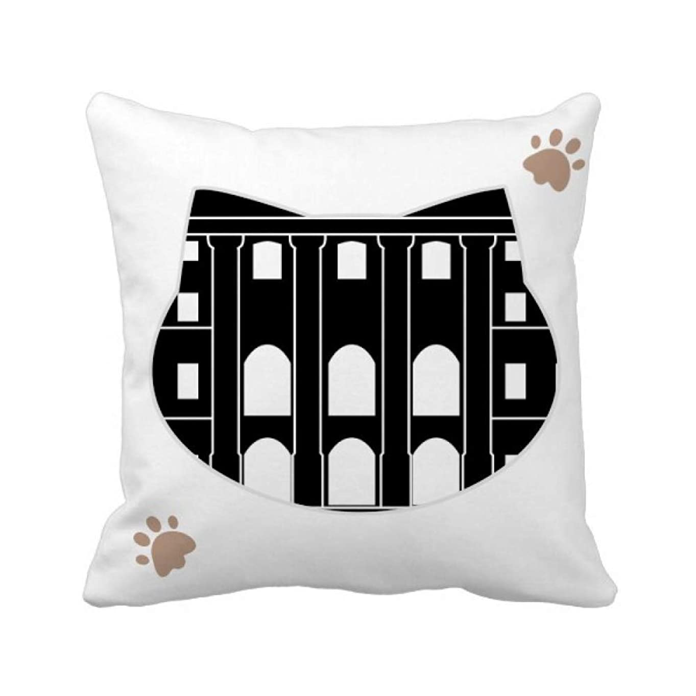 終わった公爵夫人ボトルネックドイツの建物の建造物 枕カバーを放り投げる猫広場 50cm x 50cm