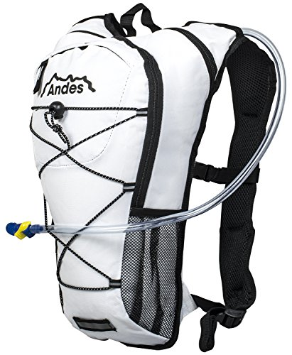 Andes 2 Litre White Hydration Pack/Backpack Running/Cycling with Water Bladder/Pockets